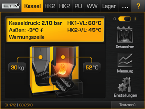 Touchpanel User Interface für Heizkessel-Steuerung