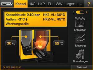 Touchpanel User Interface für Heizkessel-Steuerung
